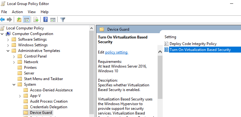 Virtualization Based Security (VBS) in vSphere 6 7