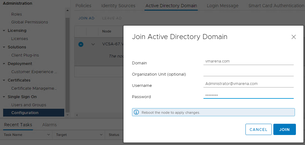 Join the vCSA 6 7 to an Active Directory Domain From HTML Client