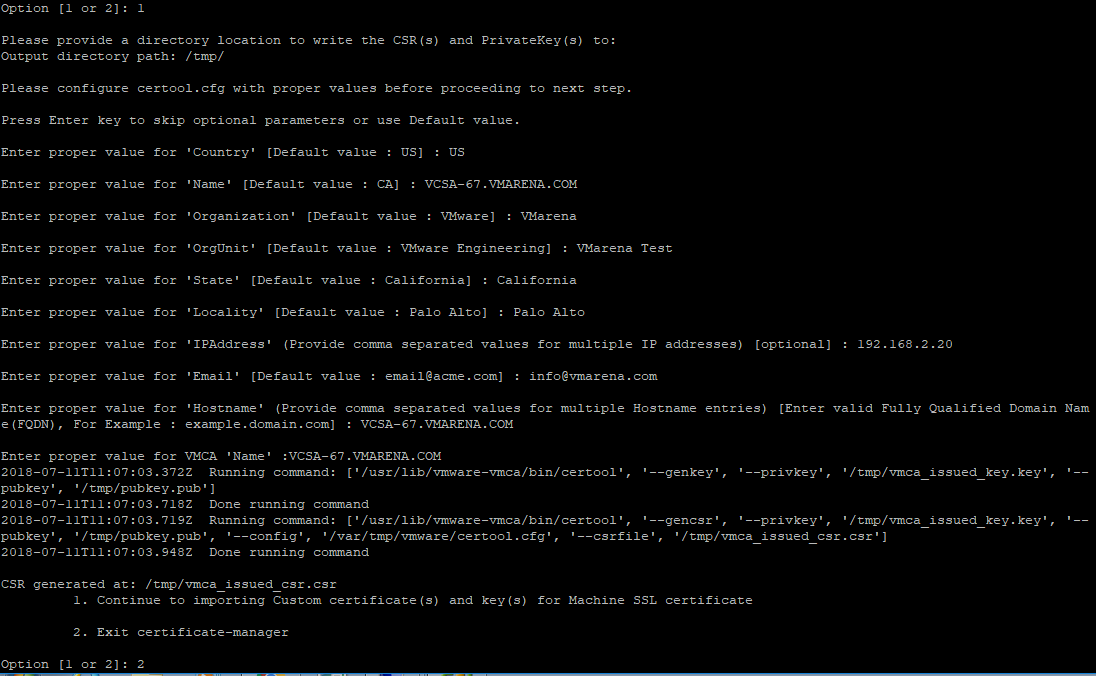 Replace Vcsa 67 Certificate Vmca By An Adcs Signed Certificate