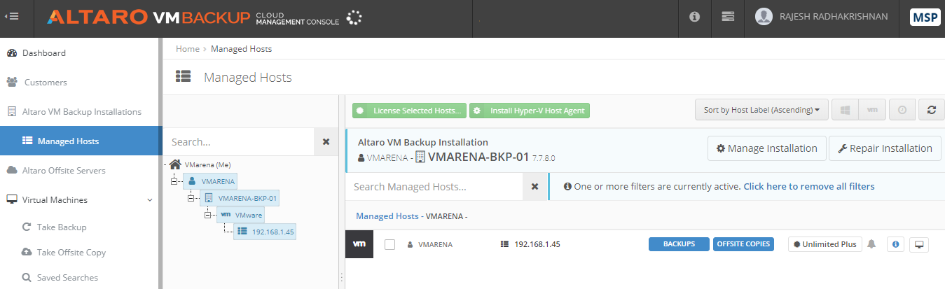 Altaro VM Backup – Cloud Management Console - CMC