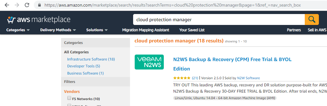Deploy N2WS Cloud Protection Manager (CPM) From AWS